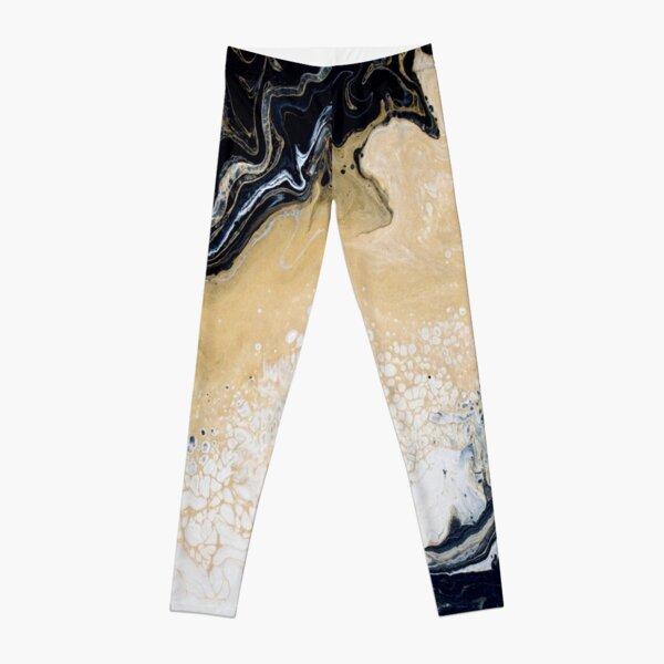 Black Gold Acrylic Pour Leggings
