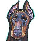 «Divertido Doberman Pinscher Dog brillante colorido Pop Art» de bentnotbroken11