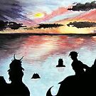 Mermaids at Sunset by WaterRaven