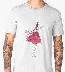 Fashion Sketch Illustration Girl Blowing Kiss Roses 1950's Bow Men's Premium T-Shirt
