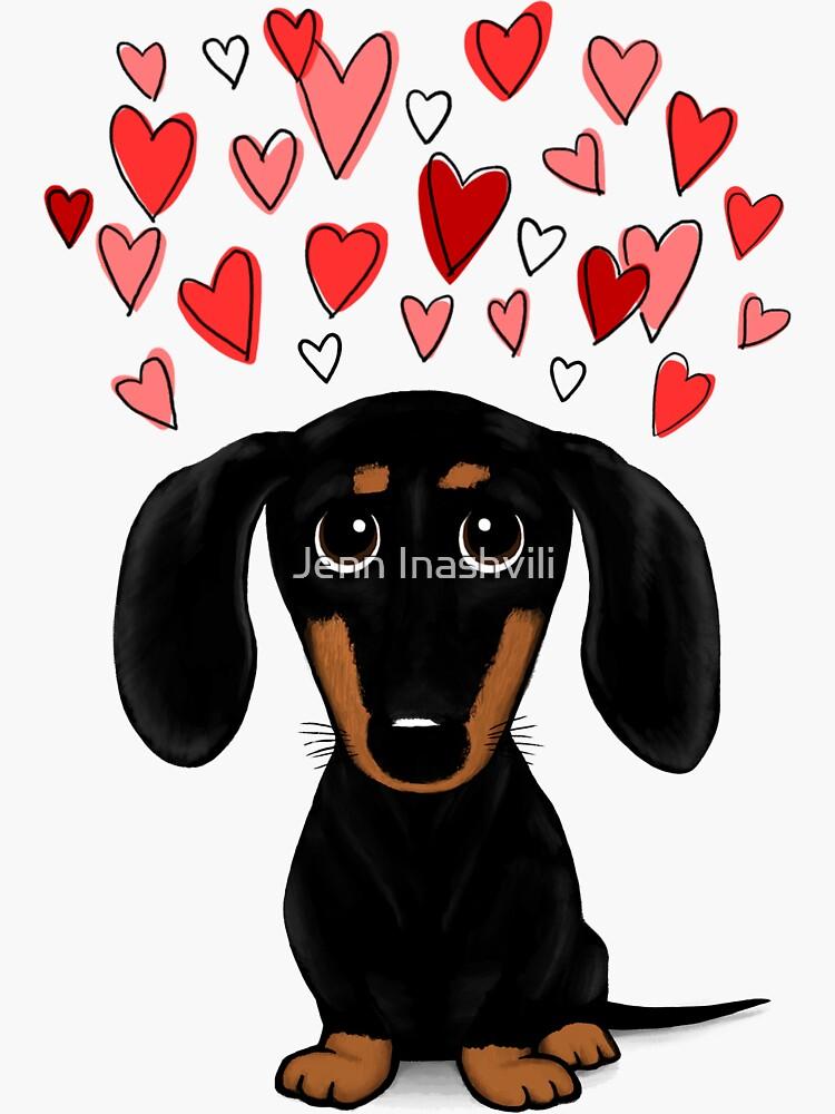 Black and Tan Dachshund with Valentine Hearts   Cute Cartoon Wiener Dog by ShortCoffee
