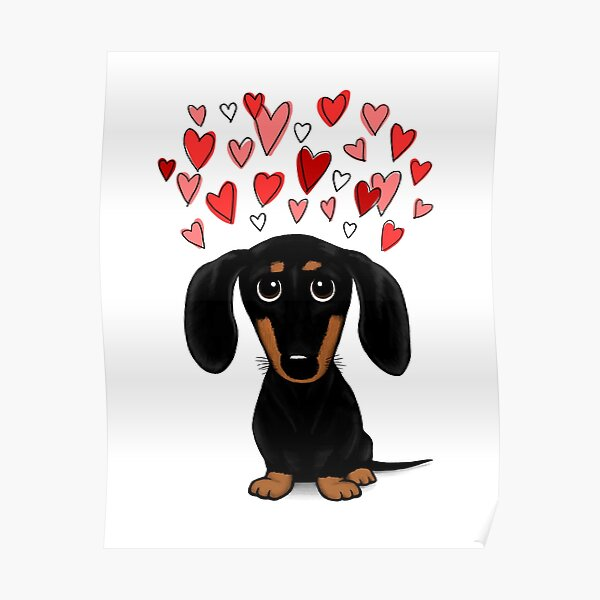 Black and Tan Dachshund with Valentine Hearts | Cute Cartoon Wiener Dog Poster