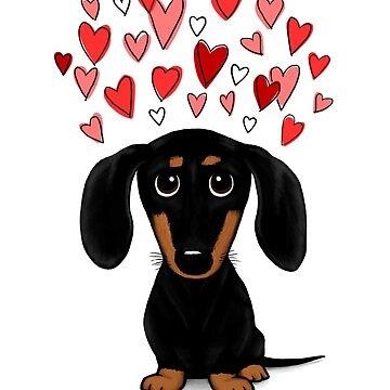 Black and Tan Dachshund with Hearts by ShortCoffee