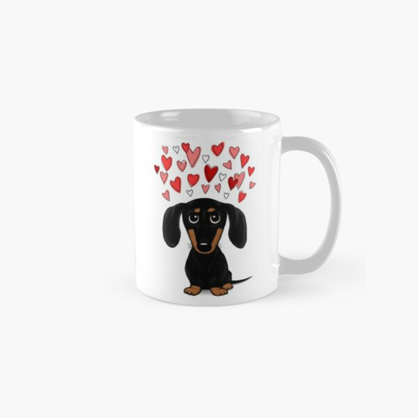 Black and Tan Dachshund with Valentine Hearts   Cute Cartoon Wiener Dog Classic Mug