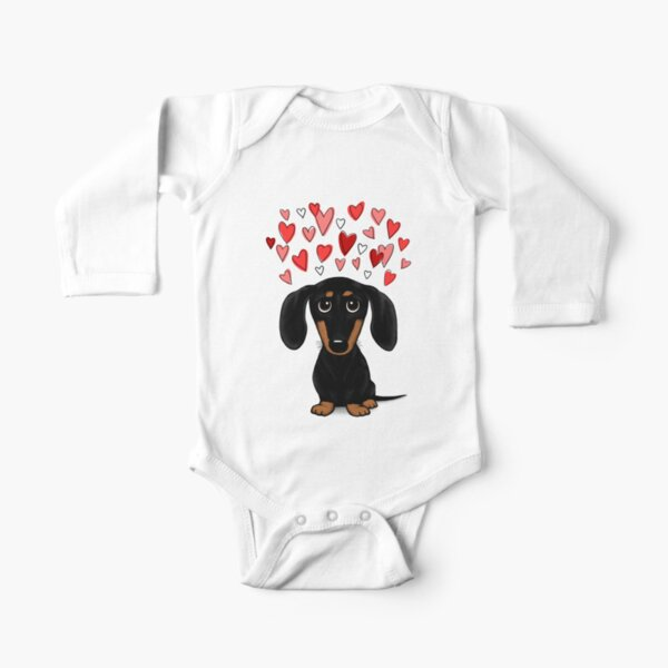 Dachshund negro y fuego con corazones de San Valentín   Perro Wiener de dibujos animados lindo Body de manga larga para bebé