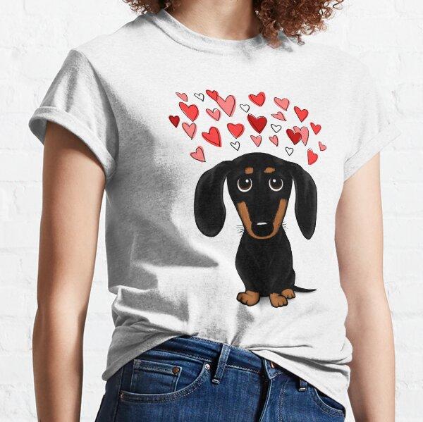 Schwarz und Tan Dackel mit Valentine Hearts | Netter Cartoon Wiener Hund Classic T-Shirt