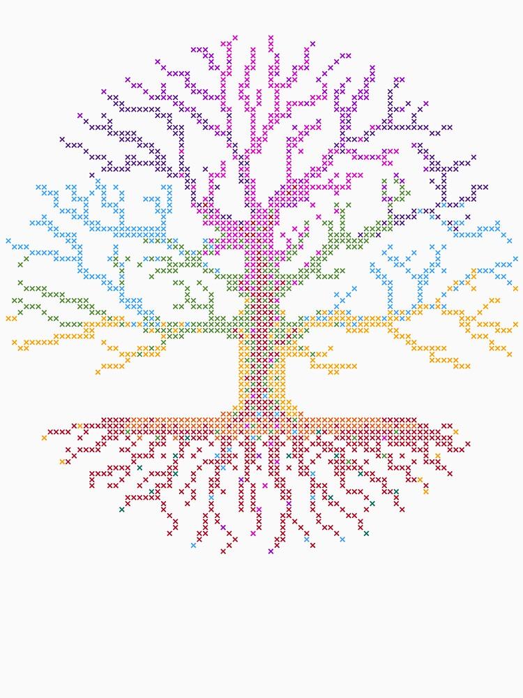 Rainbow Chakra Tree Of Life Cross Stitch Pattern Chart On White Simple Tree Of Life Pattern
