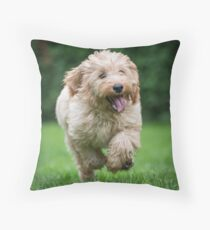 Cockapoo running Throw Pillow