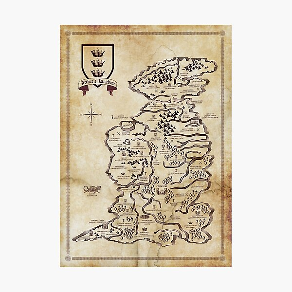 Map of King Arthur's Britain Photographic Print