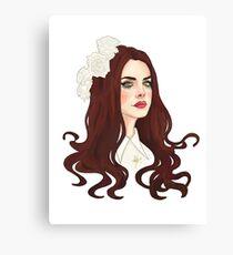Lienzo Diseño de dibujo digital Lana Del Rey (flores)