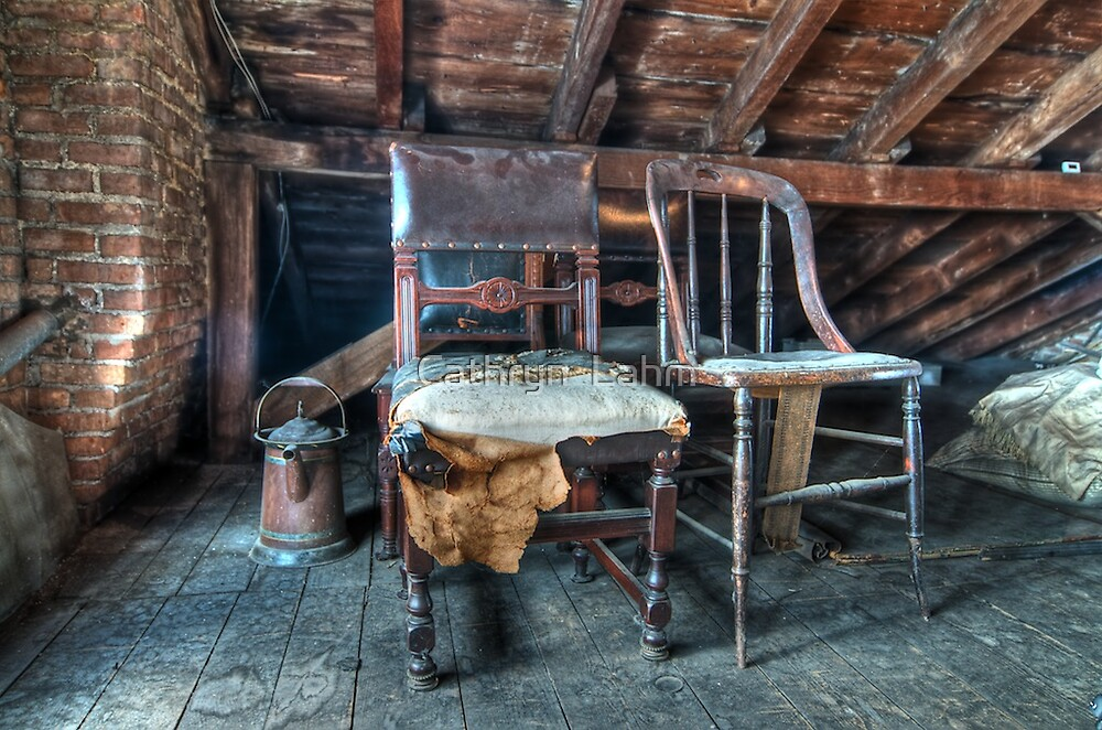 Antique Chairs Attic 1800's Home by Cathryn  Lahm