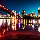 Morning Skyline Reflections of Cincinnati Ohio by Gregory Ballos