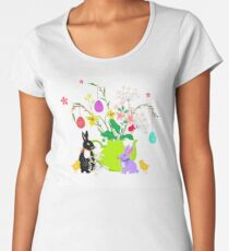 Easter bunnies with flowers and tea pot Women's Premium T-Shirt