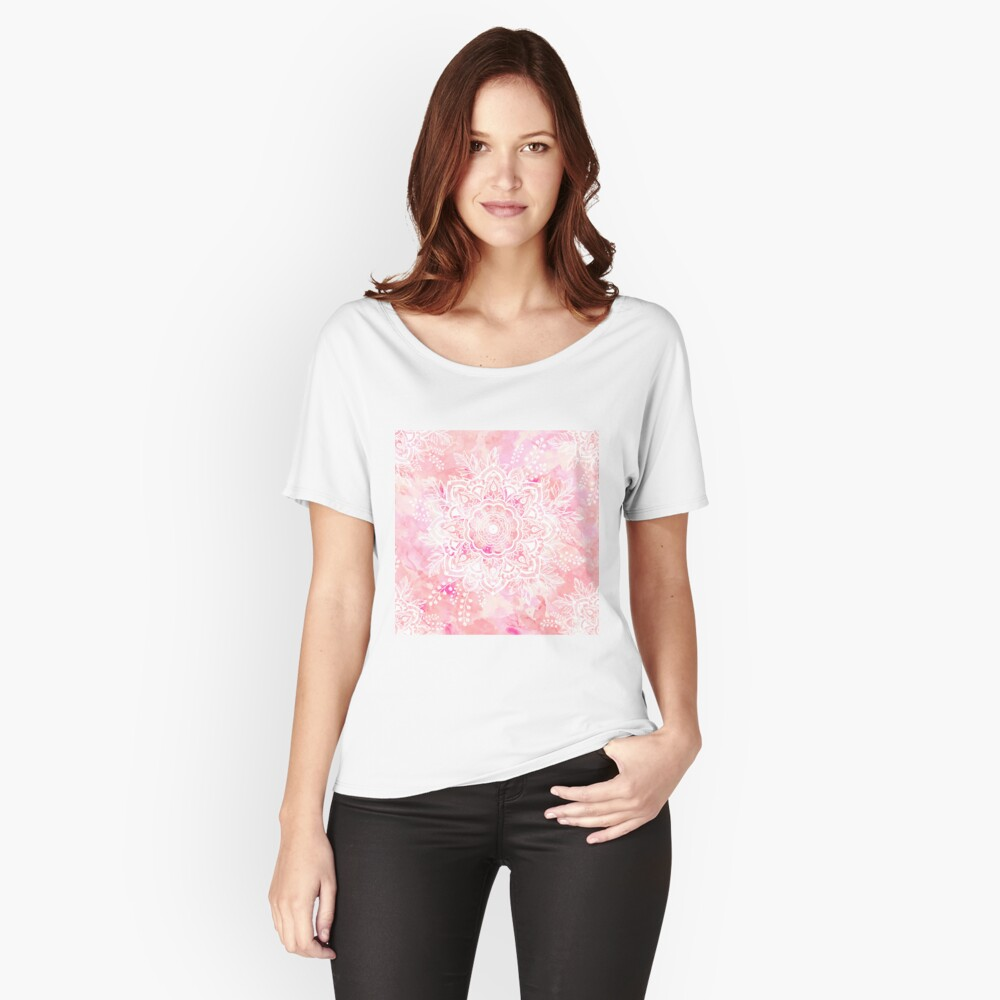 Queen Starring of Mandalas Pink Relaxed Fit T-Shirt