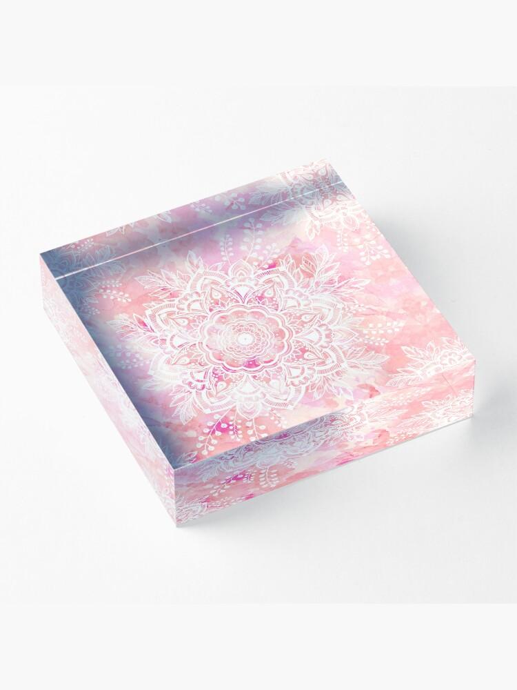Alternate view of Queen Starring of Mandalas Pink Acrylic Block