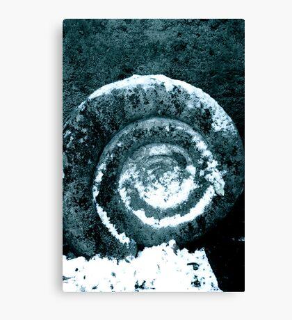 Rock spiral in snow Canvas Print