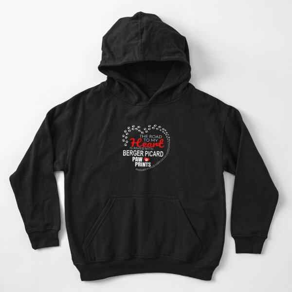 The Road To My Heart Is Paved With Berger Picard Paw Prints - Gift For Passionate Berger Picard Dog Owners Kids Pullover Hoodie