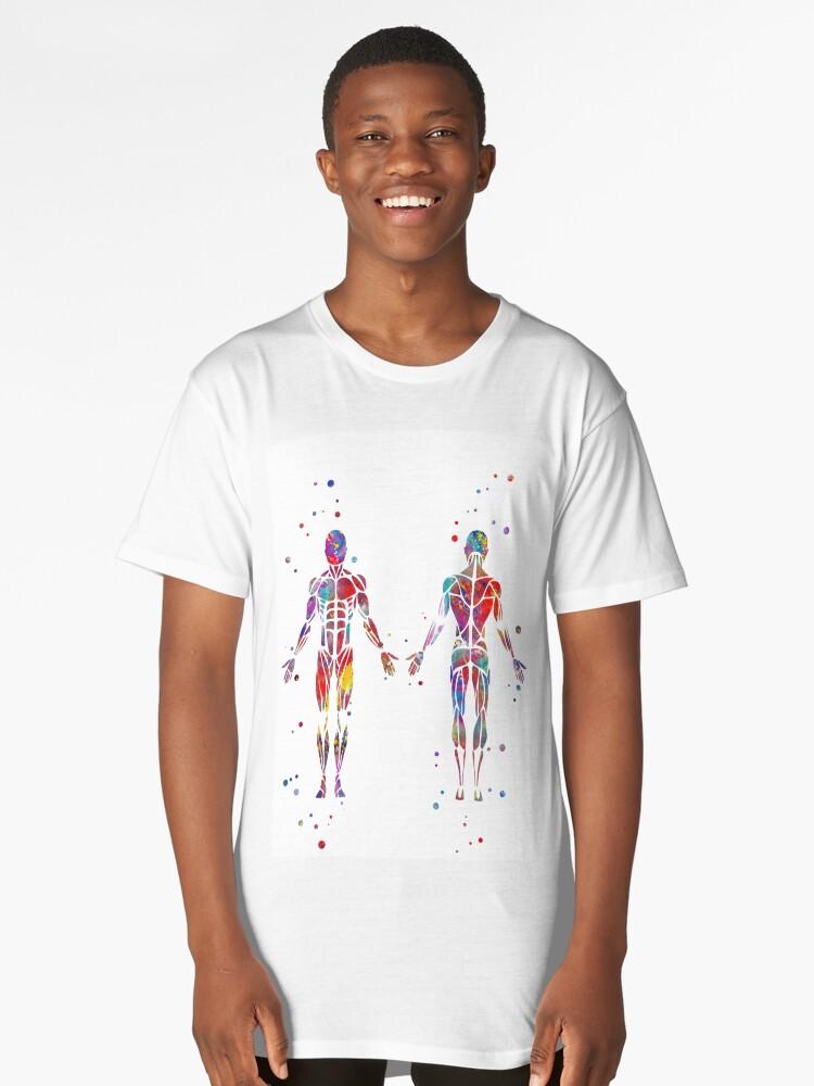 Camisetas largas «Sistema muscular, arte de la anatomía de la ...