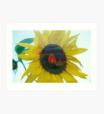 Sunflower Double Exposure Art Print