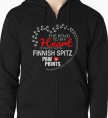 The Road To My Heart Is Paved With Finnish Spitz Paw Prints - Gift For Passionate Finnish Spitz Dog Owners Zipped Hoodie
