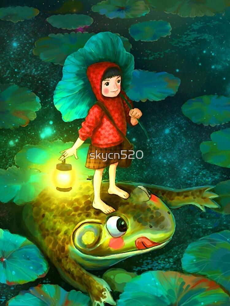 La niña en el estanque con la rana de skycn520