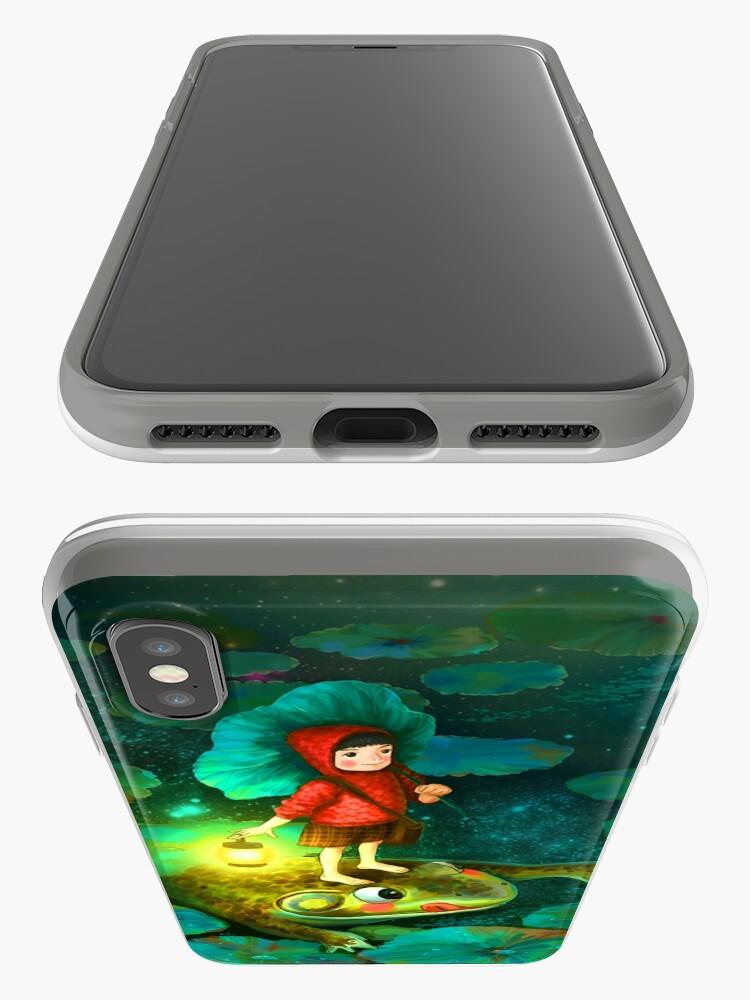 Vista alternativa de Funda y vinilo para iPhone La niña en el estanque con la rana