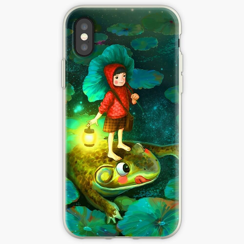 La niña en el estanque con la rana Funda y vinilo para iPhone