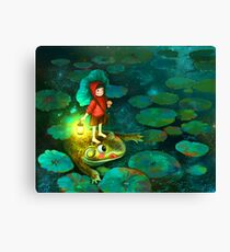 The little girl in the pond with frog Canvas Print