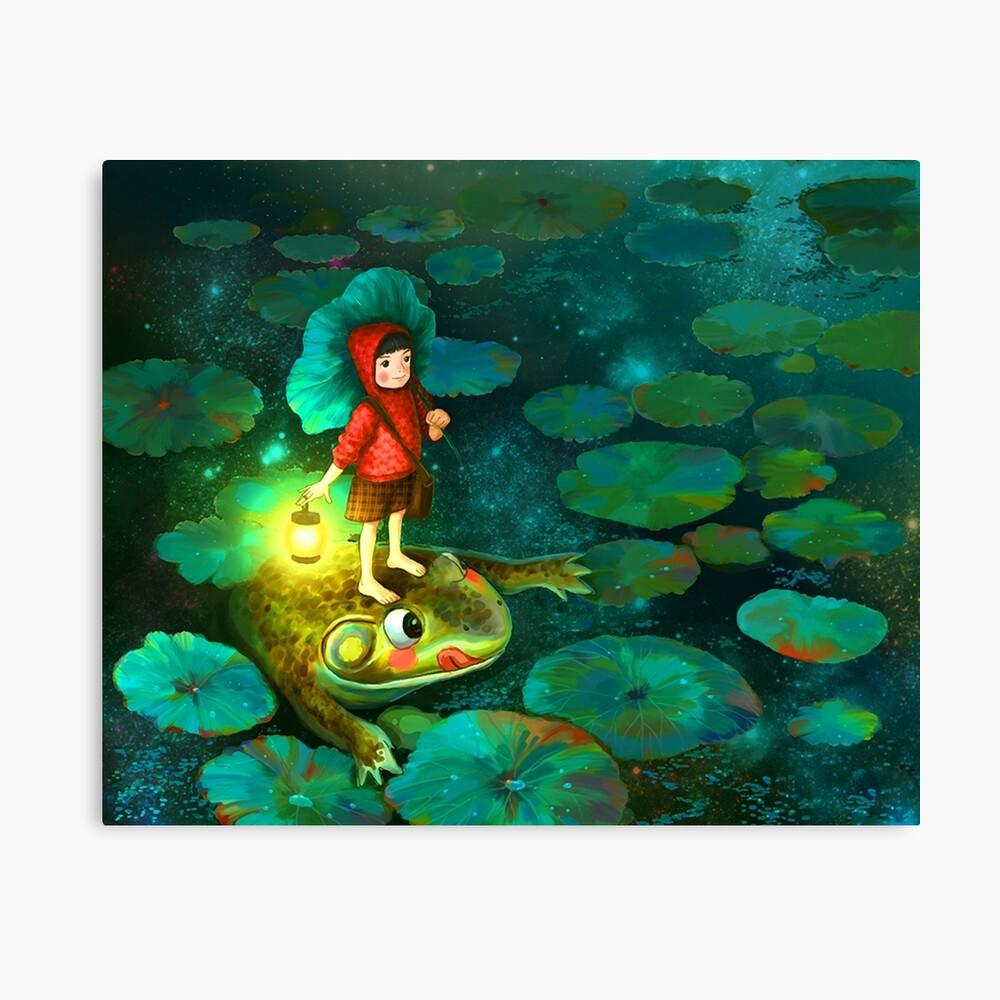 La niña en el estanque con la rana Lienzo