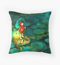 The little girl in the pond with frog Throw Pillow