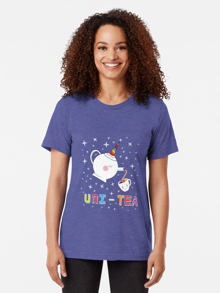 Alternate view of Uni-Tea - Cute Unity Rainbow Tea Pot & Cup Tri-blend T-Shirt