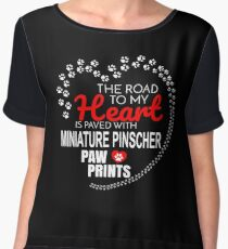 The Road To My Heart Is Paved With Miniature Pinscher Paw Prints - Gift For Passionate Miniature Pinscher Dog Owners Chiffon Top