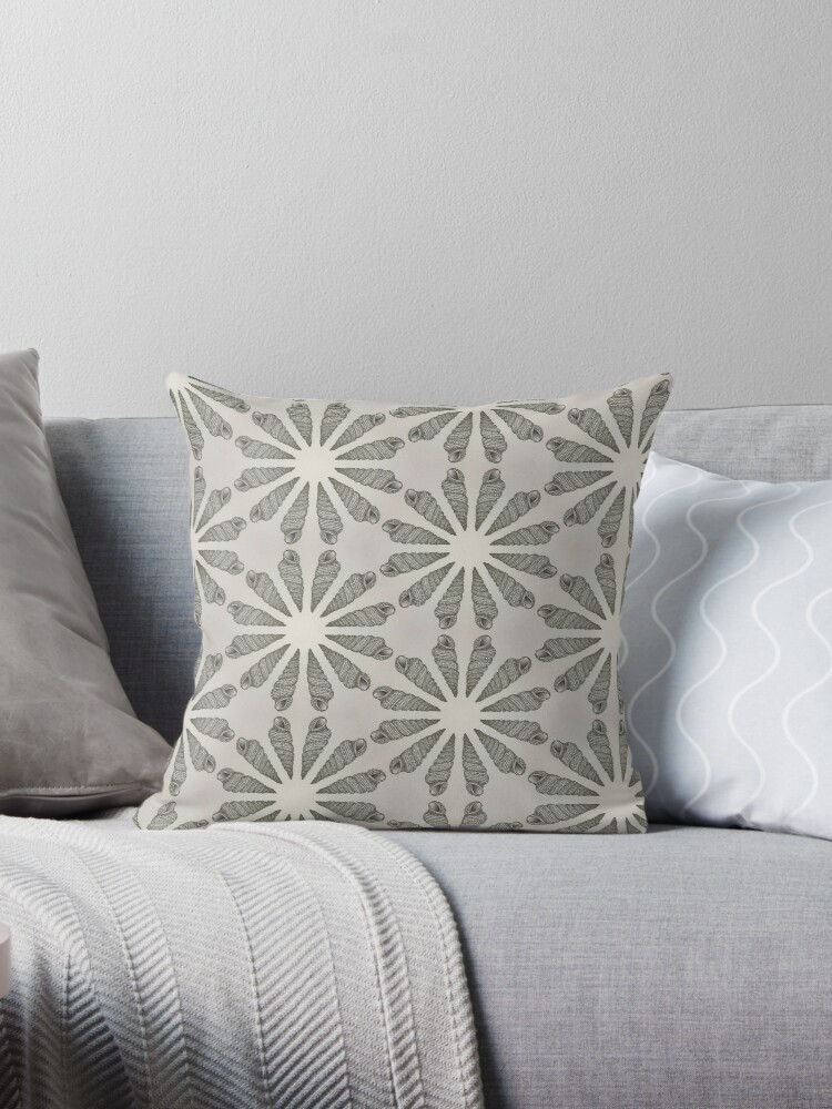 Sea Shell Drawing Circle Pattern Throw Pillow By Redfinchdesigns Redbubble