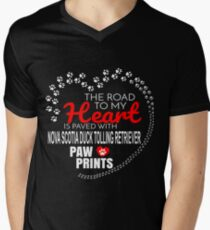The Road To My Heart Is Paved With Nova Scotia Duck Tolling Retriever Paw Prints - Gift For Passionate Nova Scotia Duck Tolling Retriever Dog Owners Men's V-Neck T-Shirt