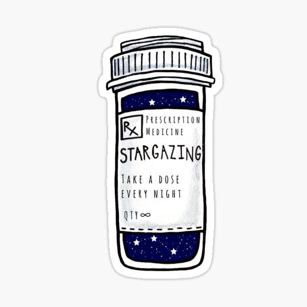 stargazing prescription pill bottle sticker Sticker