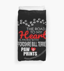 The Road To My Heart Is Paved With Staffordshire Bull Terrier Paw Prints - Gift For Passionate Staffordshire Bull Terrier Dog Owners Duvet Cover