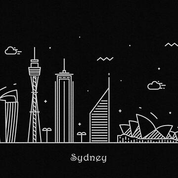Sydney Skyline Minimal Line Art Poster by geekmywall