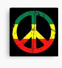 Rasta Peace and love - Distressed Canvas Print