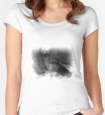 Black and white German Shepherd portrait Women's Fitted Scoop T-Shirt
