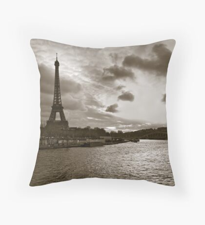 Over the Seine Throw Pillow