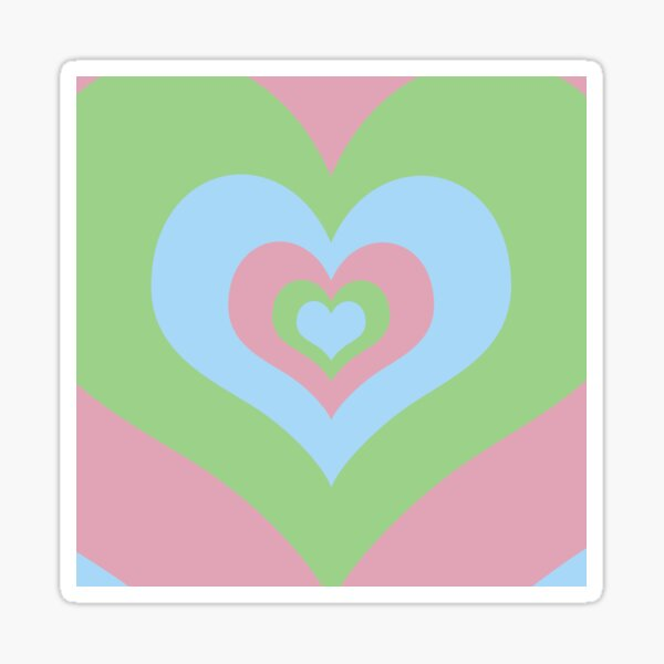 Radiating Hearts Pink, Blue, and Green Sticker