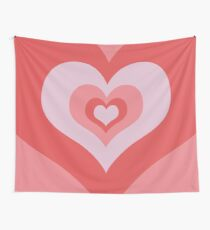 Radiating Hearts Pink Wall Tapestry