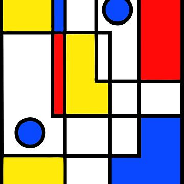 Abstract yellow, blue and red neo-modern boxes and circles by UDDesign