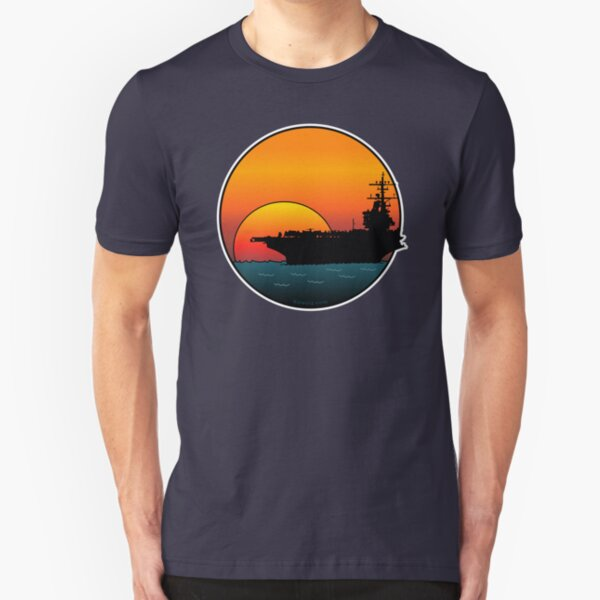 US Navy Aircraft Carrier at Sunset Slim Fit T-Shirt