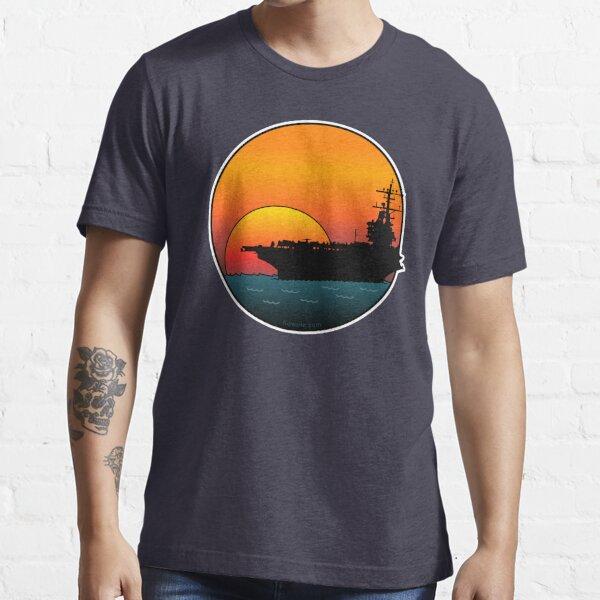 US Navy Aircraft Carrier at Sunset Essential T-Shirt