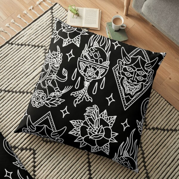 Black and White Traditional Tattoo Flash Pattern Floor Pillow