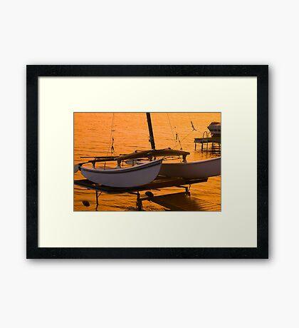 Twin Hull Sunset Framed Print