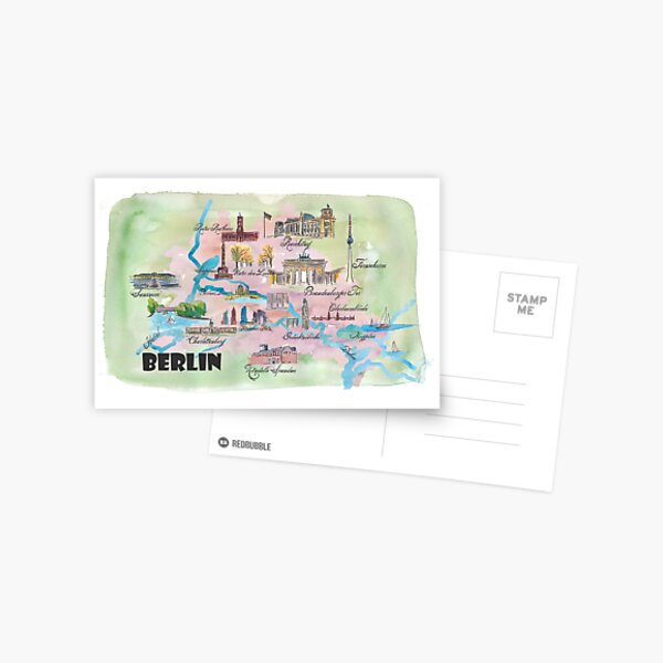 Berlin Favorite Map with touristic top ten highlights Postcard