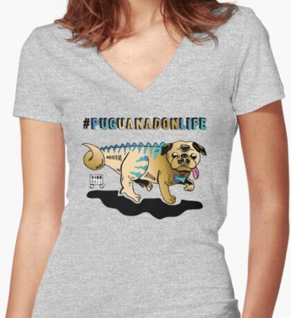 Puguanadon Life Fitted V-Neck T-Shirt
