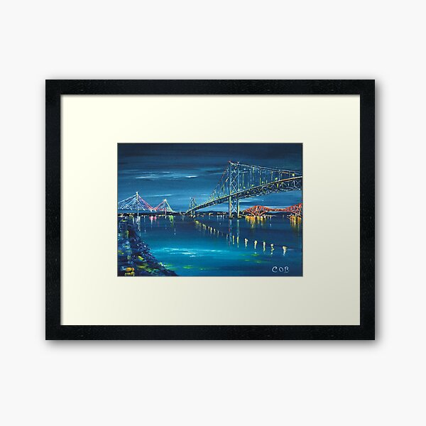 The Three Forth Bridges by Night, Edinburgh Framed Art Print